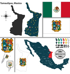 Map of tamaulipas vector