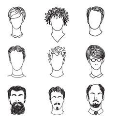 Men face various hair style beard man avatar vector