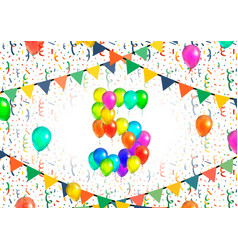 Number five made up from colorful balloons on vector