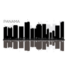 Panama city skyline black and white silhouette vector