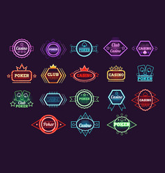 poker club and casino emblem set neon light vector image