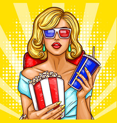 pop art blond woman sitting in the vector image vector image