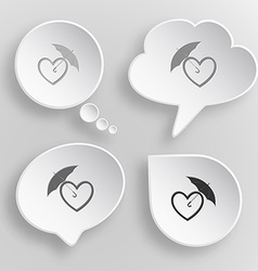 Protection love White flat buttons on gray vector image