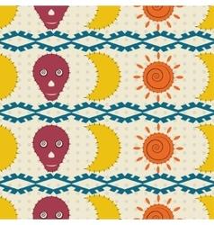 Seamless pattern moon skulls and the sun vector