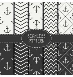 Set of monochrome marine geometri seamless pattern vector image vector image