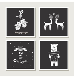 set of vintage greeting cards for christmas black vector image vector image