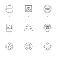 Sign icons set outline style vector