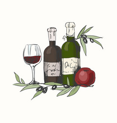 still life with olive oil and wine apple and vector image