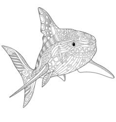 Stylized underwater shark vector image vector image