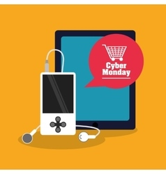 Tablet and mp3 of cyber monday and shopping design vector