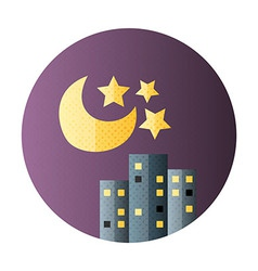 Urban city night life flat circle icon vector