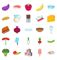 Useful product icons set cartoon style vector