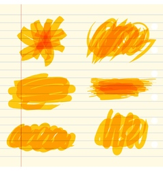 Yellow marker scribbles vector image