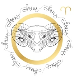 Zodiac sign Aries Horosope card in zentangle vector image vector image