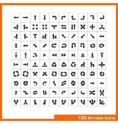 100 arrows icons set vector image