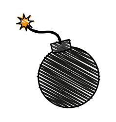 Color crayon stripe cartoon boom ready to explode vector