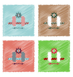 flat icon design collection gears and wheels in vector image