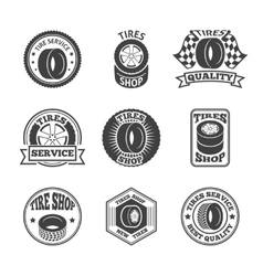 Tires label icon set vector