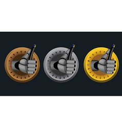Rating icons with cyborg hand holding cable on vector