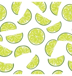 Seamless sliced lime pattern vector image
