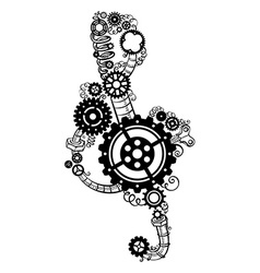 Treble clef made of gears vector image