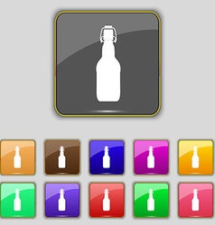 Bottle icon sign set with eleven colored buttons vector