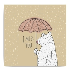 Hand drawn polar bear with umbrella vector