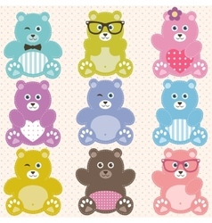 Set of cute teddy bears vector