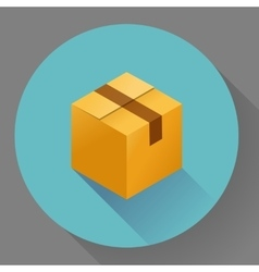 Icon of closed post cardboard box flat style vector