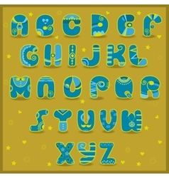 Fairy alphabet funny blue and yellow letters vector