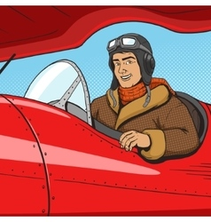 Retro pilot in vintage plane pop art style vector