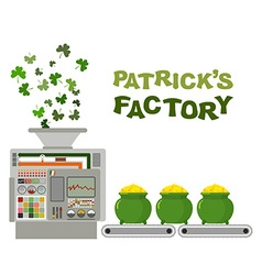 Patrick factory leprechaun machine recycling green vector