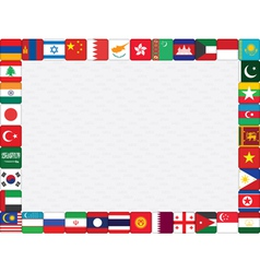 Asian countries flag icons frame vector image