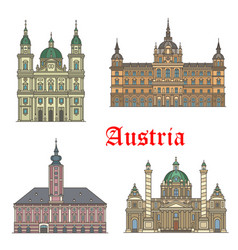 Austrian travel landmarks of architecture icon set vector