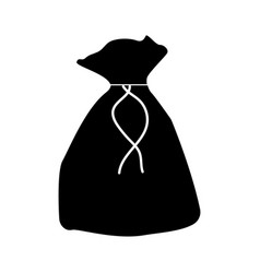 Black sack or bag or pouch icon vector