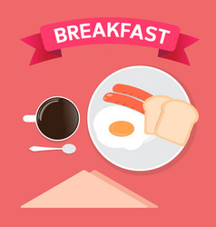 Breakfast time and coffee cup is happiness vector