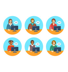 Call center agents team at desks flat icons vector