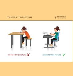 Children ergonomic wrong and correct sitting pose vector