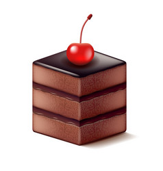 chocolate cake with cherry isolated on white vector image vector image