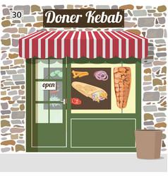 Doner kebab fast food cafe vector
