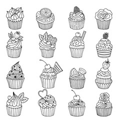 doodle set of cupcakes hand drawn vector image vector image