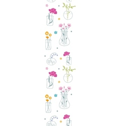 Fresh flowers in vases vertical seamless pattern vector image