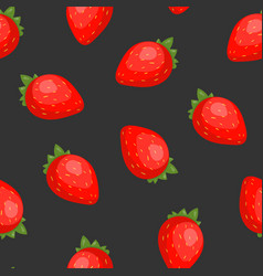 gorgeous seamless pattern with juicy strawberries vector image