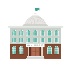 Government building with dome and flag vector
