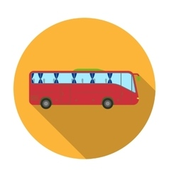 Green tour bus icon in flat style isolated on vector image