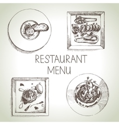 Hand drawn sketch restaurant food set European vector image vector image