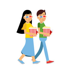 happy couple in 3d glasses with popcorn going to vector image