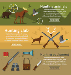 Hunting banner horizontal set flat style vector