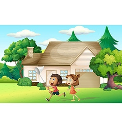 Kids catching butterfly in garden vector