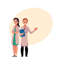 male and female doctors in medical coats man and vector image vector image